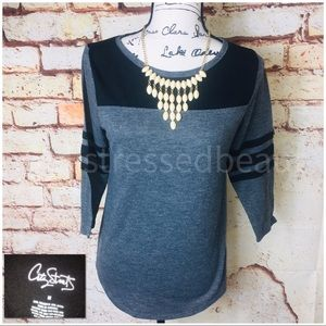 CITY STREETS   LN   3/4 Sleeve Color Block Top
